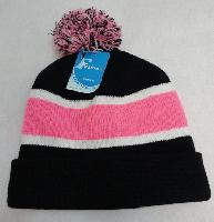 Double-Layer Knitted Hat with PomPom [Black/White/Pink]
